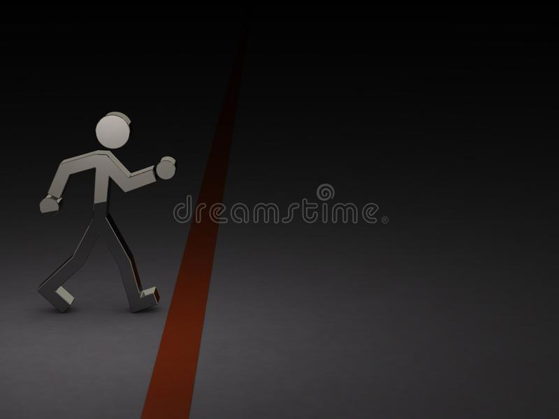 A character trying to cross the border. Abstract concept. 3D illustration royalty free illustration