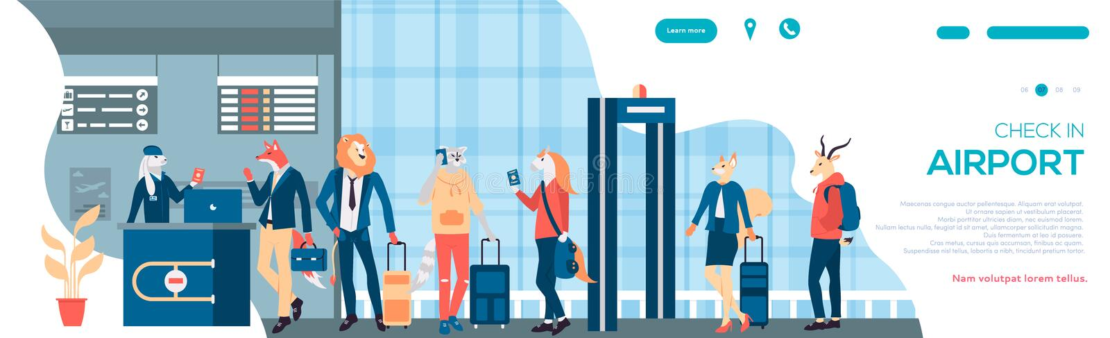 Character waiting takeoff in airport hall in interior flat banner. Vector departure lounge passengers terminal check. Illustration vector illustration