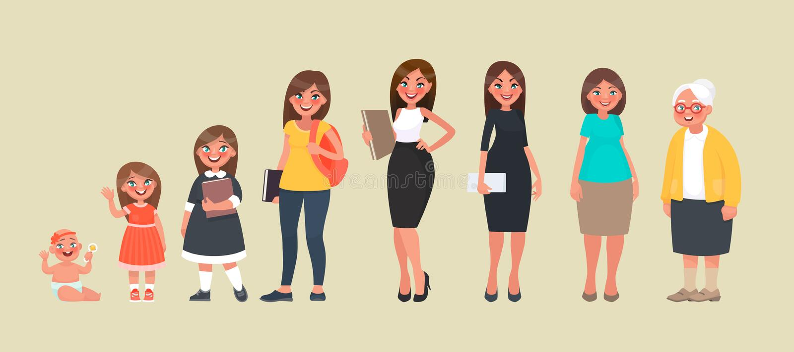 Character of a woman in different ages. A baby, a child, a teenager, an adult, an elderly person stock illustration