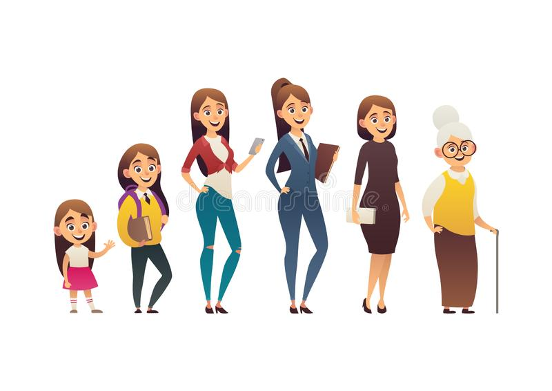 Character of woman in different ages generation people and stages growing up vector illustration