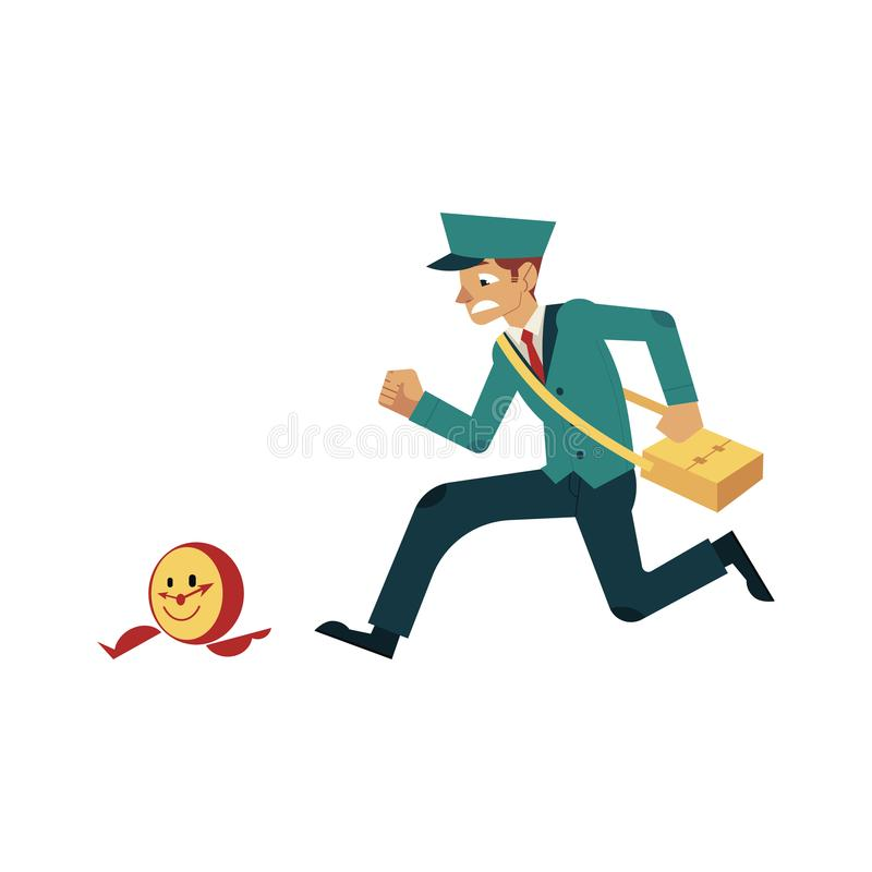 Character of worker with time design concept. Young postman in uniform catching up wall watches. royalty free illustration