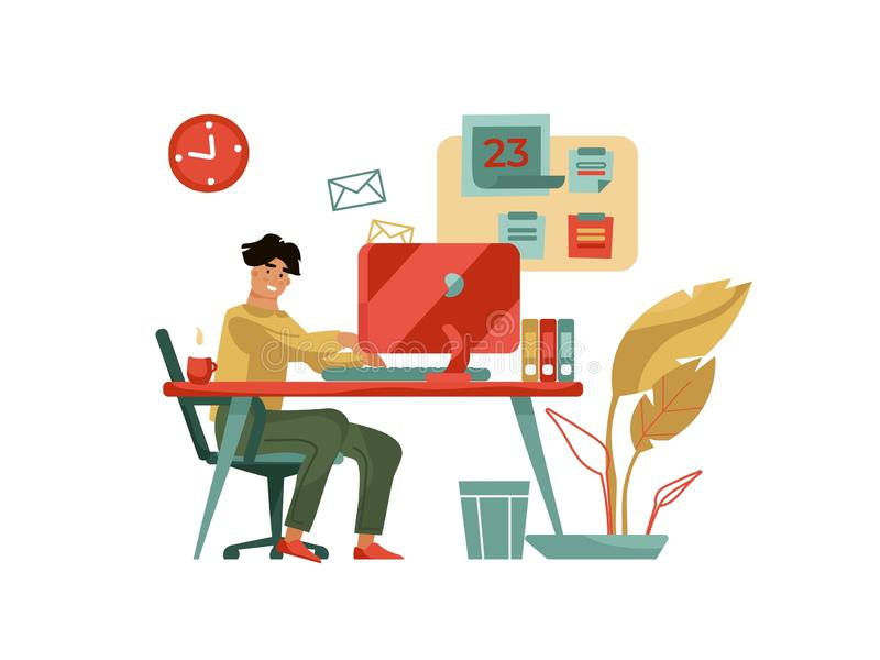 Character working at computer. Trendy modern scene with creative man with laptop at home or cafe. Vector cartoon happy vector illustration