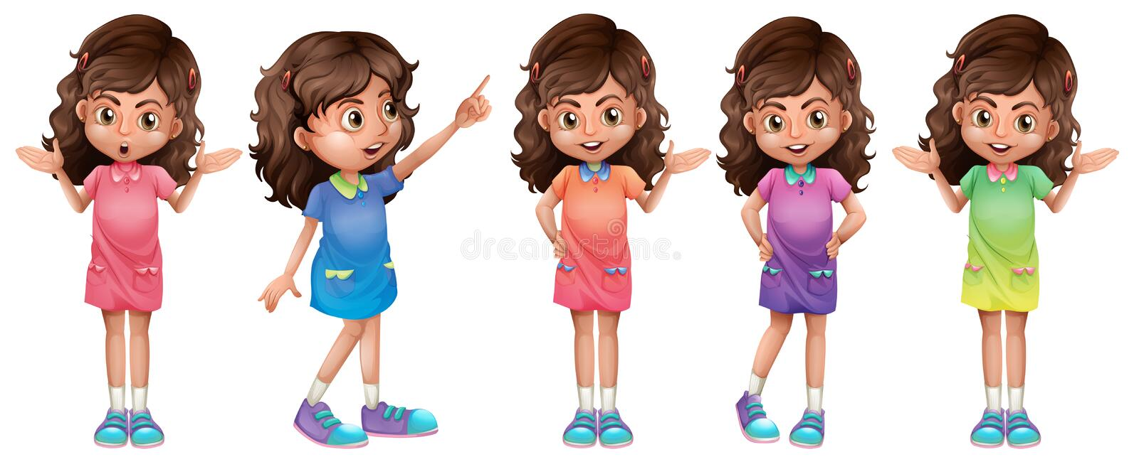 A character of a young girl vector illustration