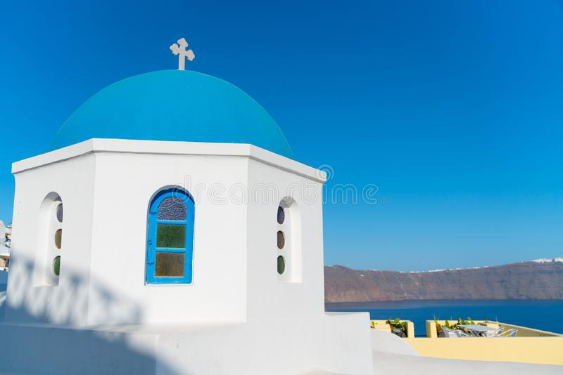 Characteristic blue dome of small Greek Orthodox church stock photo