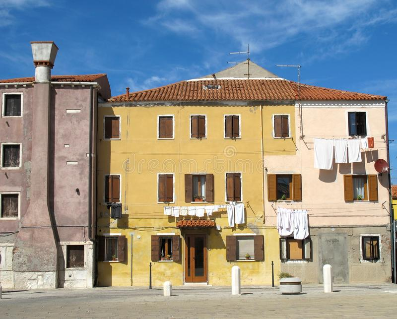 Characteristic colors of the houses on the island of Pellestrina stock photo