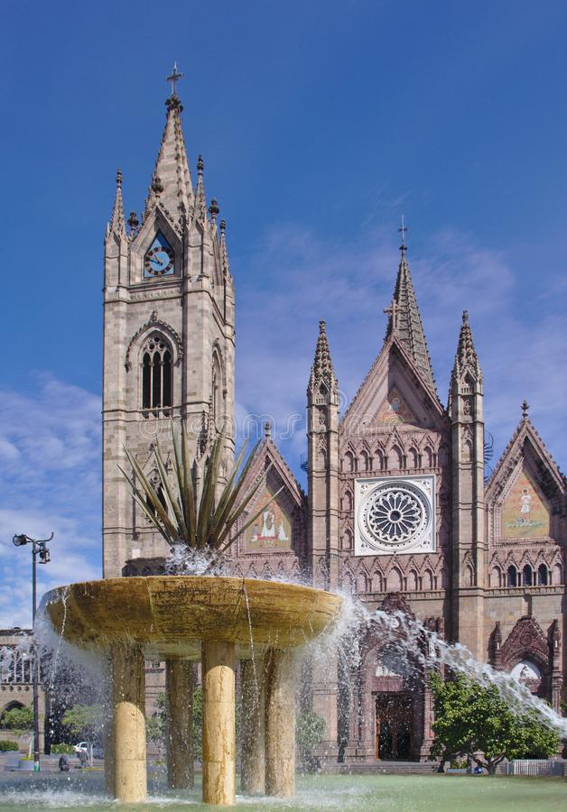 Fountain in front of the Expiatorio Temple in Guadalajara stock images