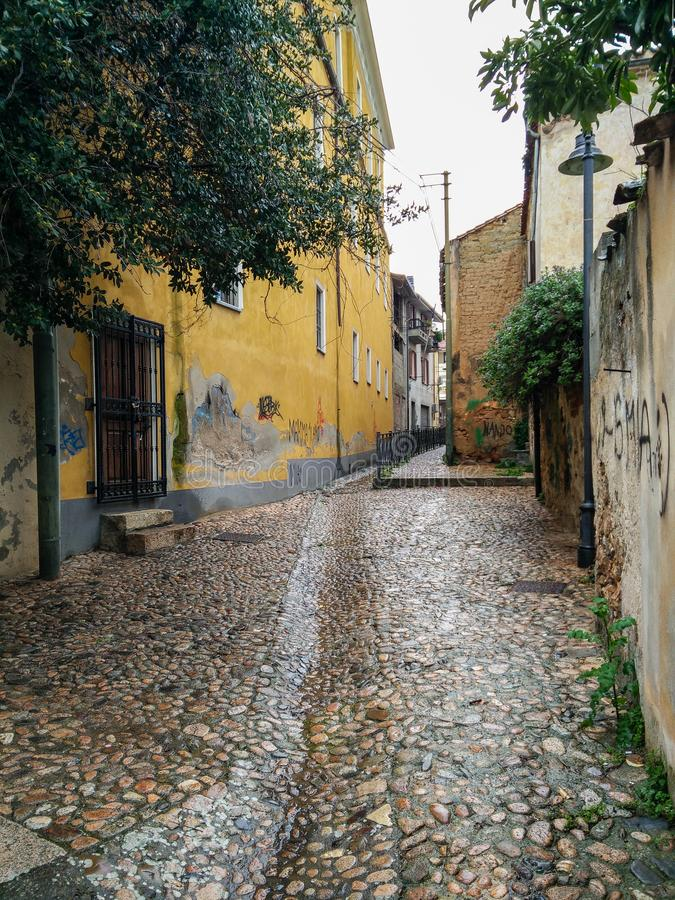 Sardinia. Villages. Villacidro. Characteristic glimpse with a old paved street, of the ancient neighborhood Sa Mitza. Villacidro, in the Medio Campidano region stock images
