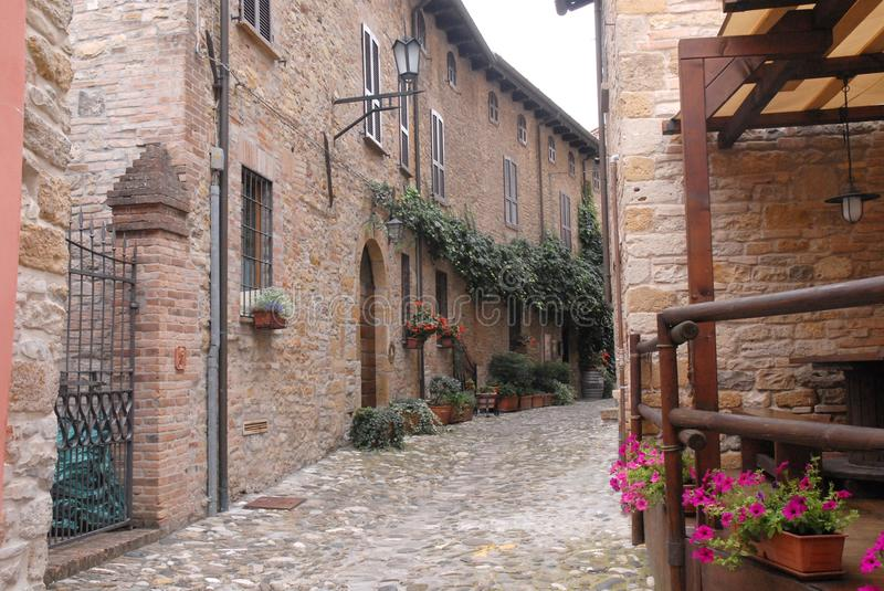 A characteristic street of the village called Castell in the province of Parma in Italy royalty free stock photo