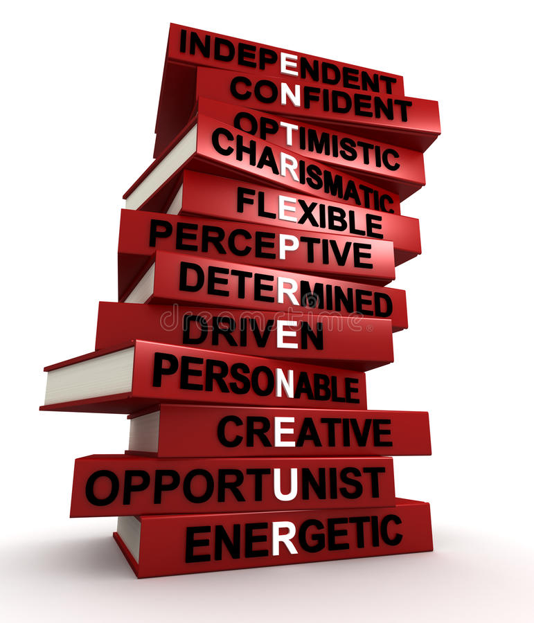 Characteristics of a great entrepreneur. Three dimensional render of a pile of books that make up the word ENTREPRENEUR royalty free illustration