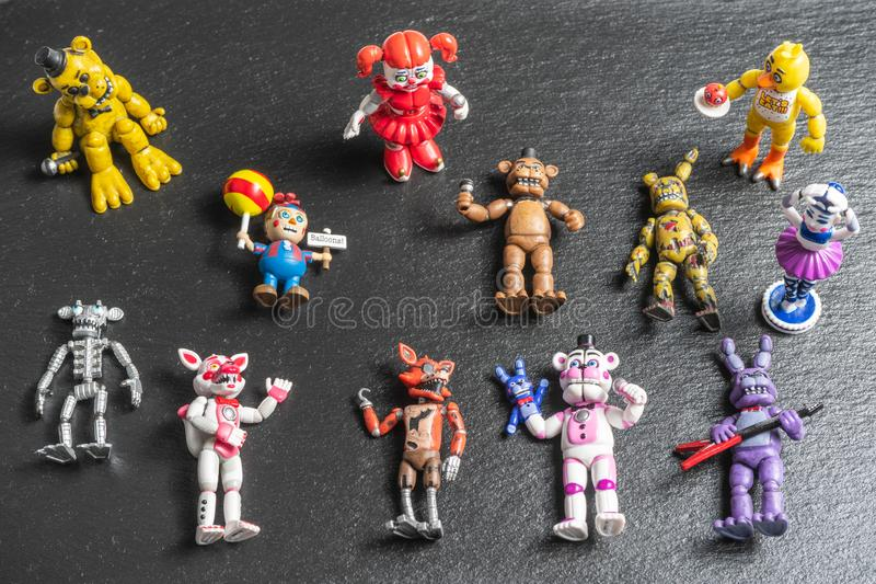 Characters,Animatronics small plastic figurines of Five Nights at Freddys video game.  stock photos
