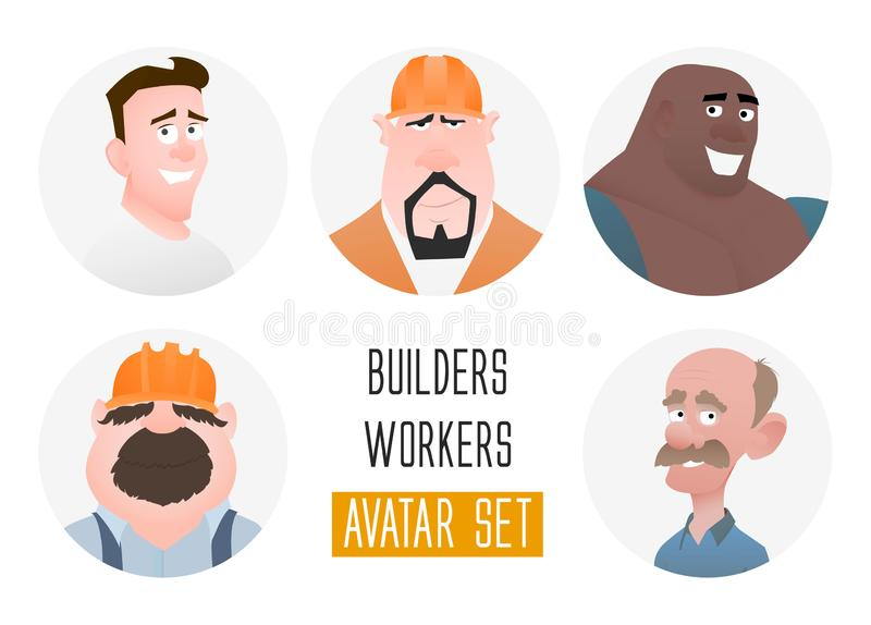 Characters avatars in cartoon flat style. Guys middle and old age. User faces in trendy flat style. Workers and builders. People royalty free illustration