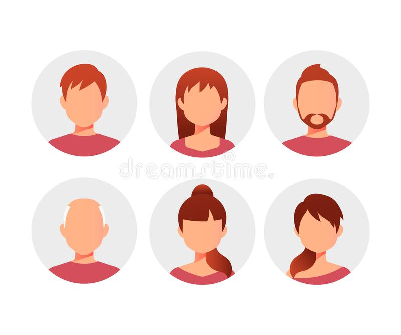 People cartoon avatars collection. royalty free illustration