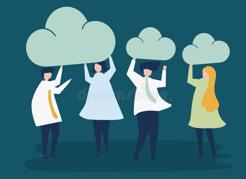 Characters of business people holding cloud icons illustration royalty free illustration
