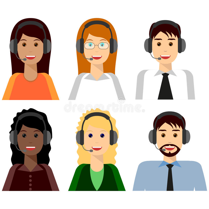 6 characters, Call center. Agents flat avatars. Live chat operators, guys and girls smiling faces. Online customer support service assistants with headphones vector illustration