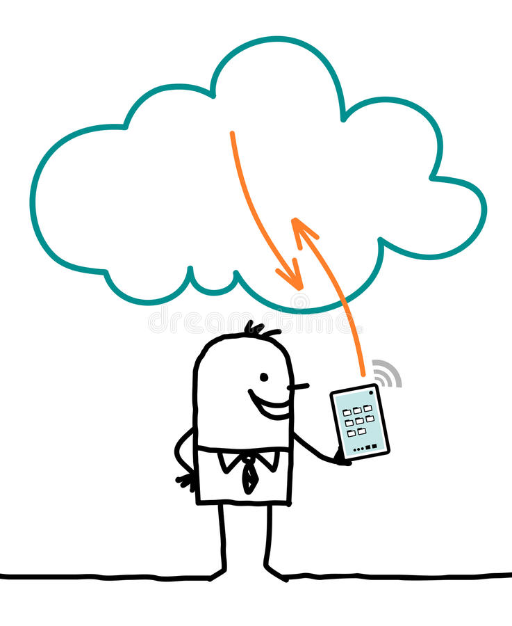 Characters and cloud - connection stock illustration