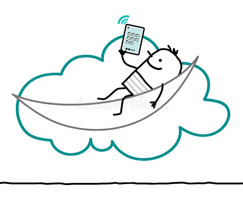 Characters and cloud - leisure. Cartoon characters and cloud - leisure vector illustration