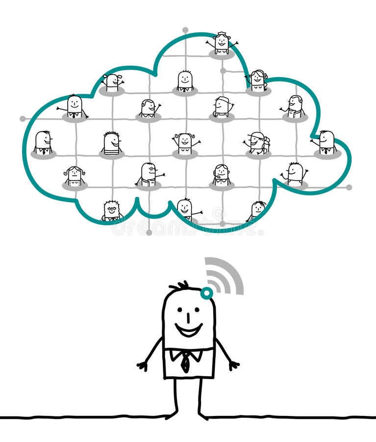 Characters and cloud - network. Cartoon characters and cloud - network stock illustration
