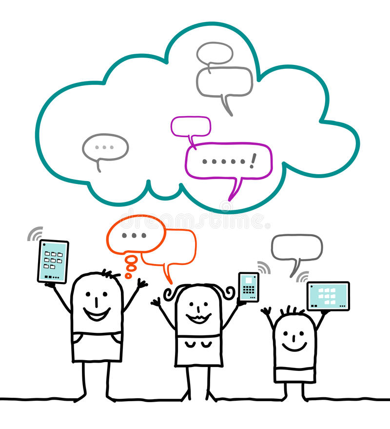 Characters and cloud - social network. Cartoon characters and cloud - social network royalty free illustration