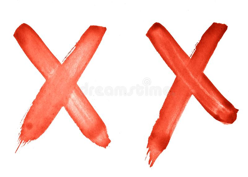 2 characters - Cross, X - red watercolor painted by hand with a rough brush. Vintage pattern for design royalty free illustration