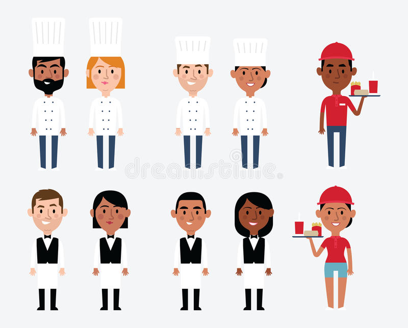 Characters Depicting Catering Occupations vector illustration