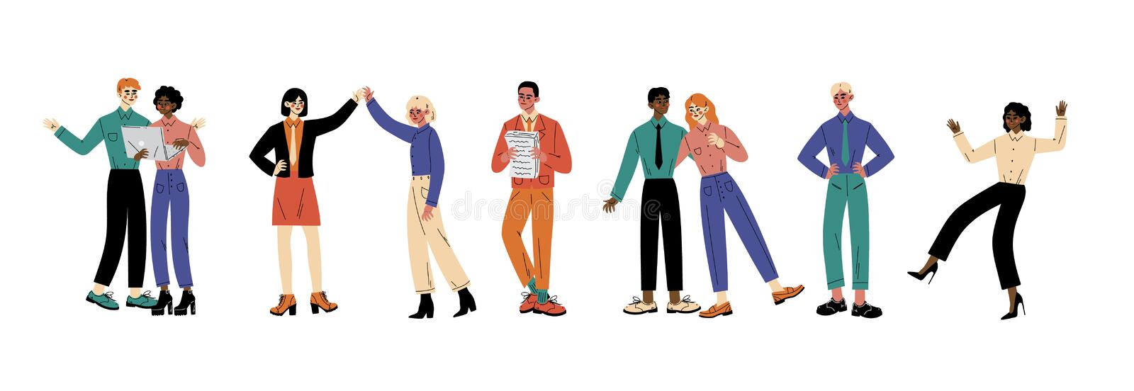 Characters in different situations cartoon vector illustration royalty free illustration
