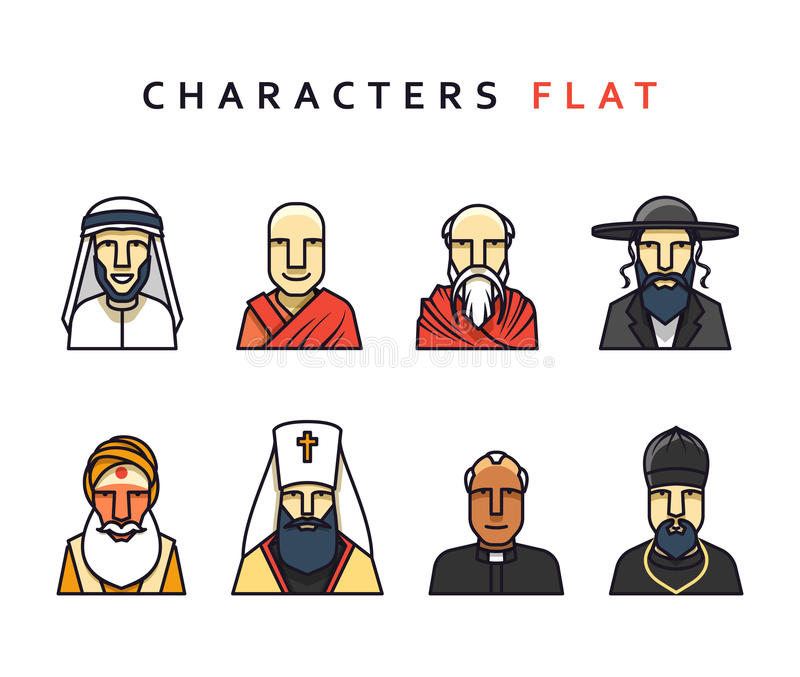 Characters in flat style. Set of religious figures of different religions in the world . characters in flat style. Characters icons men religious vector illustration
