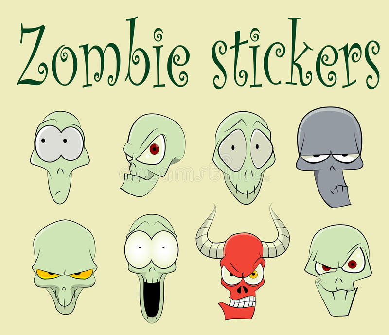 Characters of funny zombies illustration stock illustration