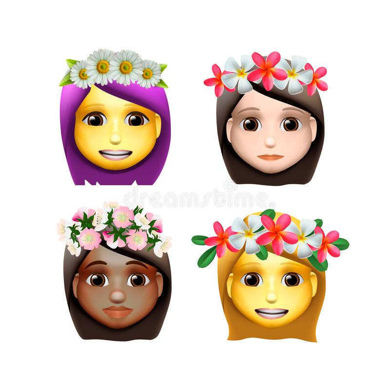 Characters girls avatars with flower on head in cartoon style, emoji icons, animoji, summer concept, emoji with wreath stock illustration