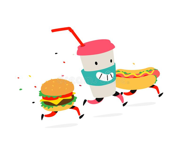 Characters hamburger, hot dog, cocktail cup. Vector. Logos for fast food. Funny illustration of food delivery. Cartoon signs,. Emblems for the restaurant royalty free illustration