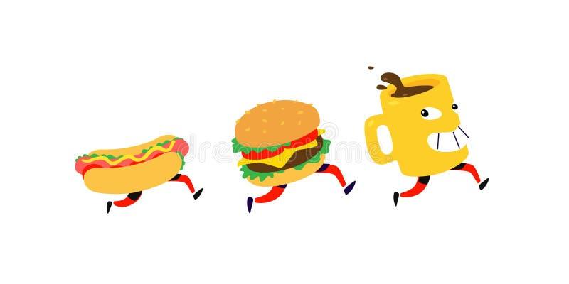 Characters hamburger, hot dog, coffee mug. Vector. Logos for fast food. Funny illustration for food delivery. Cartoon badges,. Emblems for restaurant and cafe vector illustration