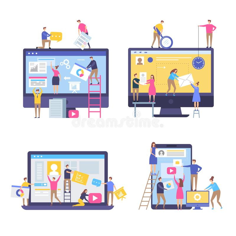 Characters making web pages. Peoples decorated websites team in business marketing scenes simple stylized vector vector illustration