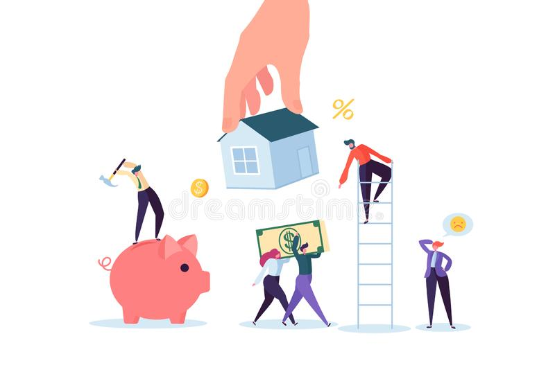 Characters Paying for Mortrage House. Real Estate Investment. Rental or Loan Home Concept. Credit Debt Financial Problem vector illustration