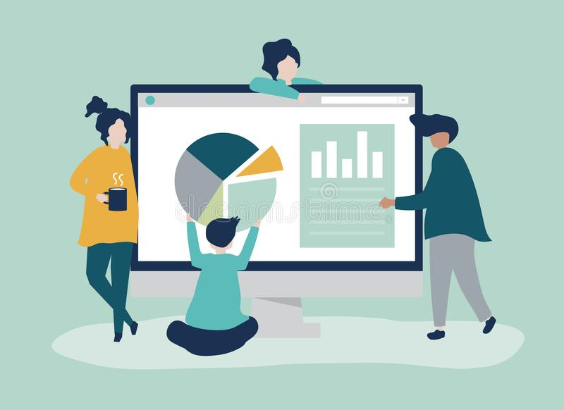 Characters of people analyzing graphs and diagrams illustration royalty free illustration