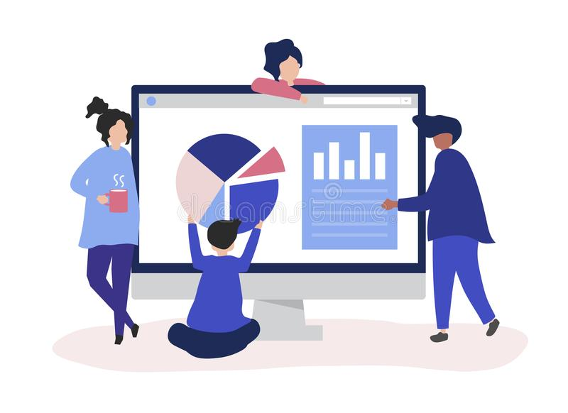 Characters of people analyzing graphs and diagrams illustration stock illustration