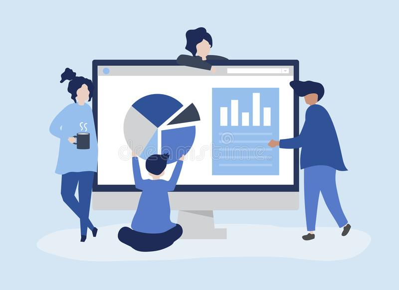 Characters of people analyzing graphs and diagrams illustration vector illustration