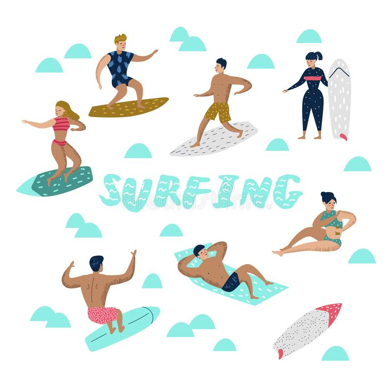 Characters People Surfing at the Beach. Man and Woman Cartoon Surfers. Water Sport Concept stock illustration