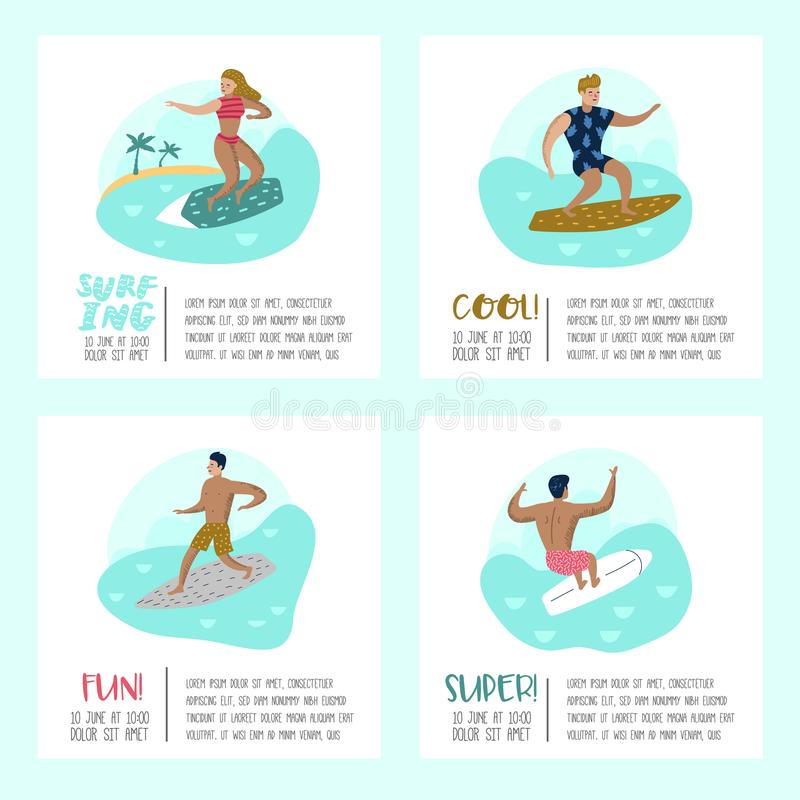 Characters People Surfing at the Beach Poster, Banner, Brochure. Man and Woman Cartoon Surfers. Water Sport Concept stock illustration
