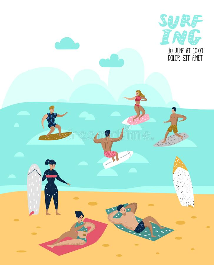 Characters People Surfing at the Beach Poster, Banner, Brochure. Man and Woman Cartoon Surfers. Water Sport Concept vector illustration