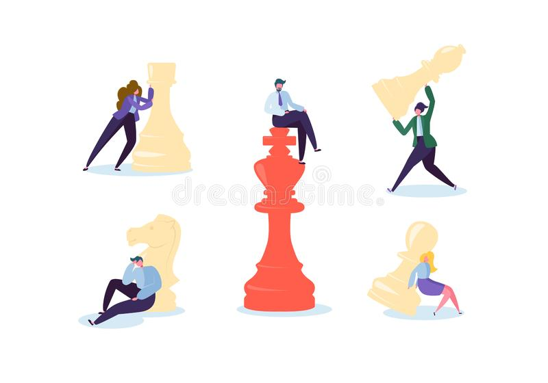 Characters Playing Chess. Business Planning and Strategy Concept. Businessman and Businesswoman with Chess Pieces. Competition and Leadership. Vector stock illustration