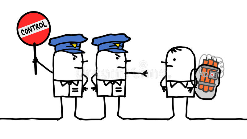 Characters - police control - bomb. Cartoon characters - police control - bomb stock illustration