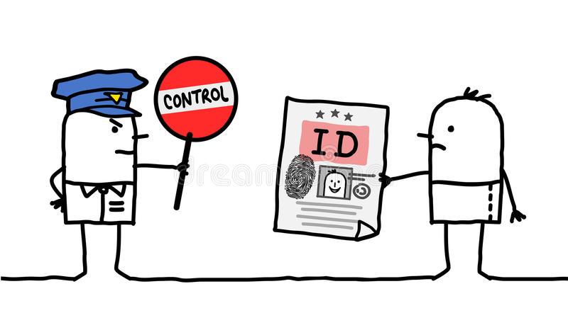 Characters - police control - identity stock illustration