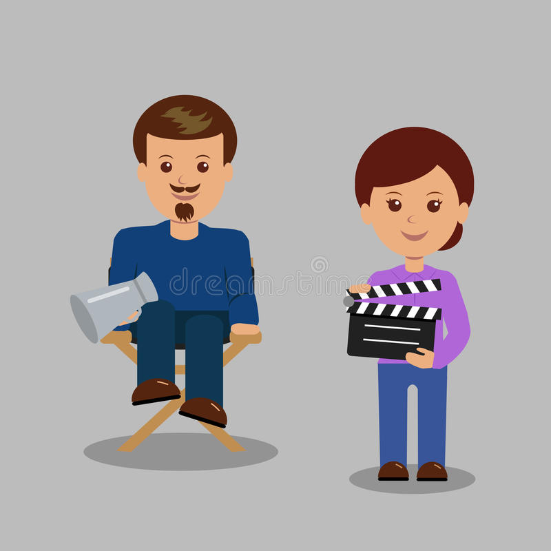 Free Characters Producer And His Assistant. Royalty Free Stock Photos - 55855298