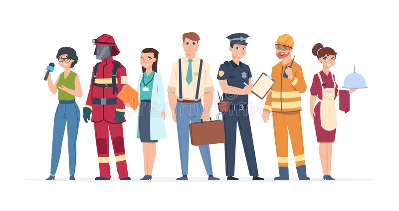 Characters professions. Factory workers business people engineer and doctor community concept. Vector career stock illustration