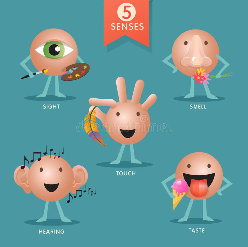Characters representing the five senses royalty free illustration