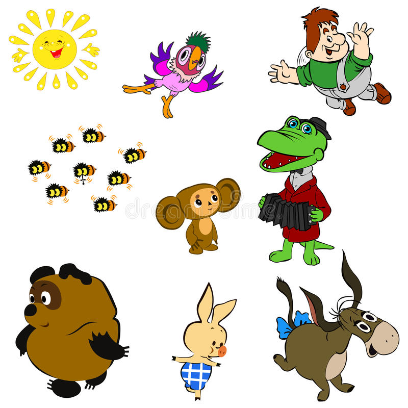 Characters of Soviet Cartoons royalty free stock images