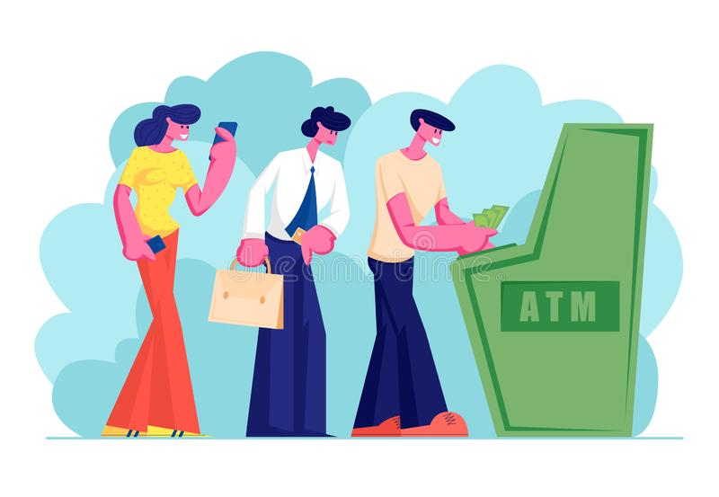 Characters Waiting in Turn to Draw or Put Money to Automated Teller Machine Standing in Queue. People Visiting Bank Using Atm. Machine for Transaction Services royalty free illustration
