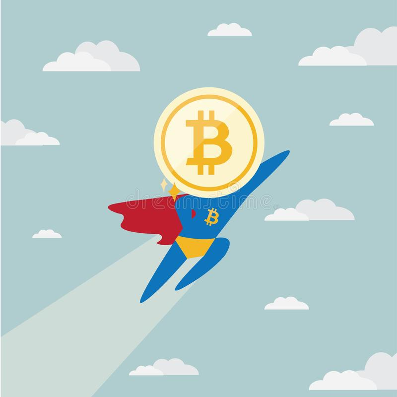 Charactor of funny super hero superman businessman Bitcoindigital currency cryptocurrency frying on the sky. royalty free illustration