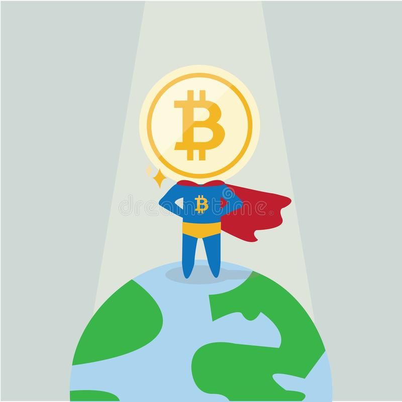 Charactor of funny super hero superman businessman Bitcoindigital currency cryptocurrency that stands on the earth.  vector illustration