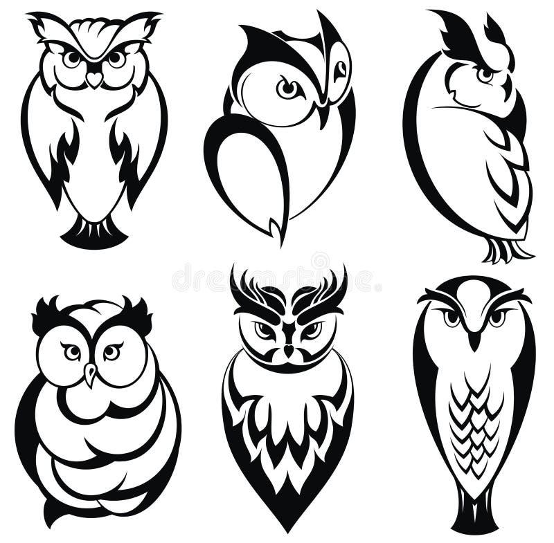 charakterów ślicznej różnej emoci odosobniony sowy set ilustracja wektor