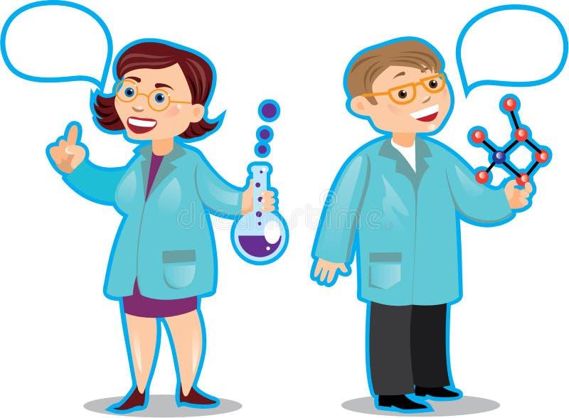 Charakterów chemicy mężczyzna i kobieta royalty ilustracja